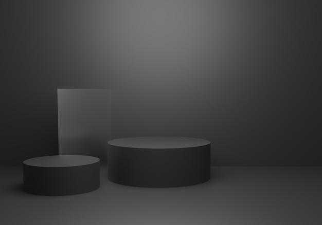 3d-wiedergabe des leeren schwarzen abstrakten minimalen konzepthintergrundes mit podium