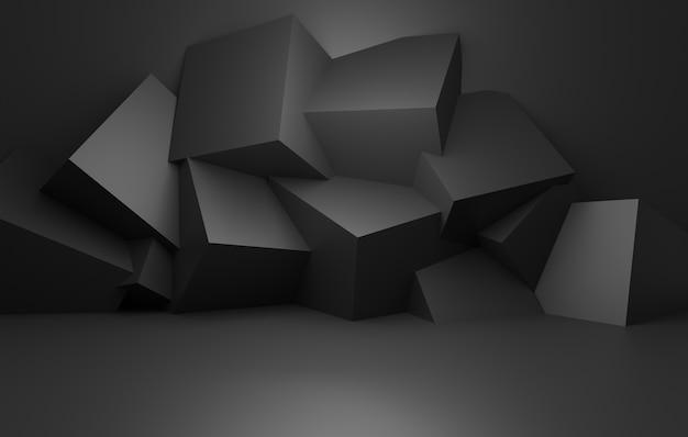 3d-wiedergabe des leeren schwarzen abstrakten minimalen konzepthintergrunds