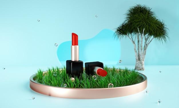 3d-wiedergabe des lippenstifts auf grasbewachsenem podium für produktanzeige