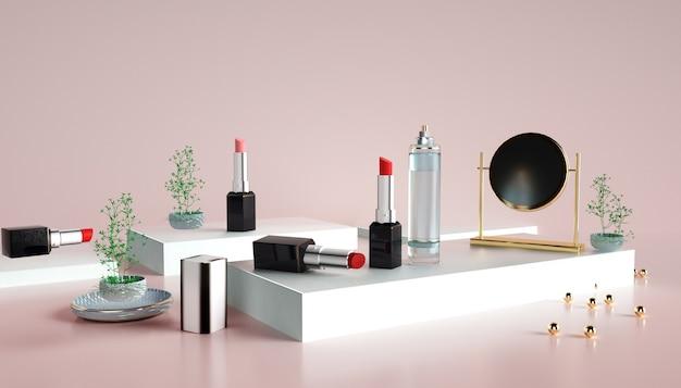 3d-wiedergabe des lippenstifts mit podium für produktanzeige Premium Fotos