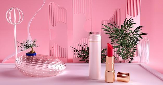 3d-wiedergabe des lippenstifts mit rosa hintergrund für produktanzeige