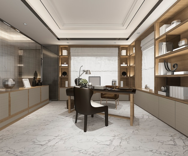 3d-wiedergabe des luxusgeschäftstreffens und des arbeitsraums im heimbüro