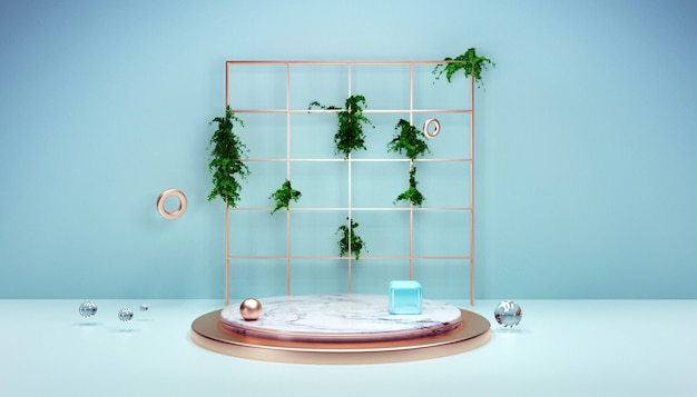 3d-wiedergabe des natürlichen geometrischen hintergrunds mit podium für produktanzeige