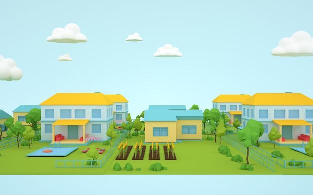 3d-wiedergabe des natürlichen wohnsitzkonzepts des isometrischen geschäfts