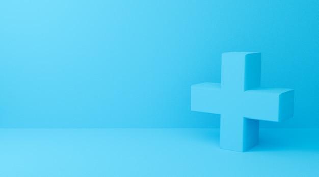 3d-wiedergabe des plus-symbols auf blauem abstraktem hintergrund. 3d kreuzzeichen für medizin und apotheke.