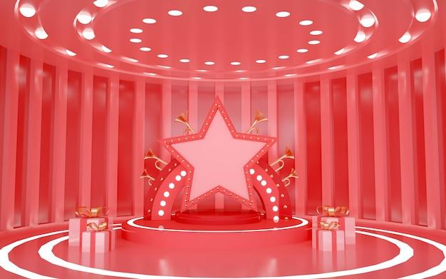 3d-wiedergabe des roten leeren raums mit dekorativen lichtern für produktanzeige
