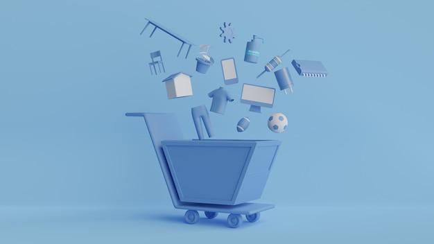 3d-wiedergabe des symbols für das einkaufen im blauen ton und im hintergrund, 3d-illustration