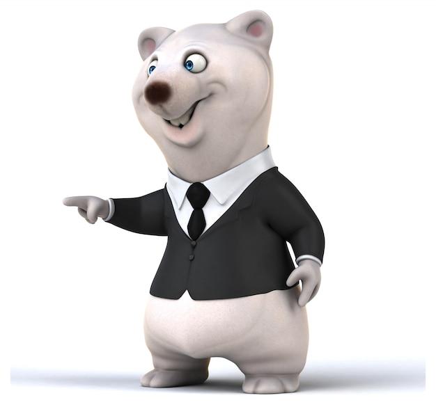 3d-wiedergabe des weißen niedlichen bären