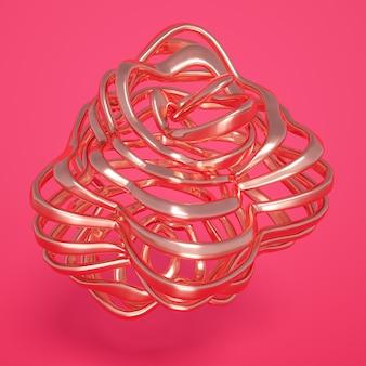 3d-wiedergabe einer realistischen komposition. fliegende kugeln, tori, röhren, zapfen und kristalle in bewegung. wunderschöner abstraktionshintergrund-minimalismus. 3d-illustration, 3d-rendering.