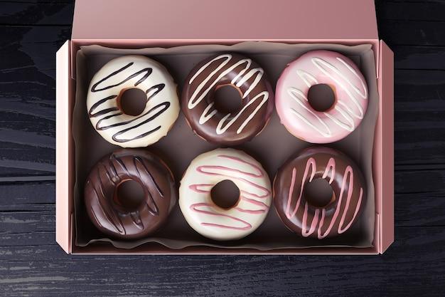 3d-wiedergabe einer rosa box mit süßen donuts