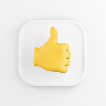 3d-wiedergabe einer weißen quadratischen symbolschaltfläche, die gelbe handpalme mit dem daumen nach oben lokalisiert auf weißem hintergrund.