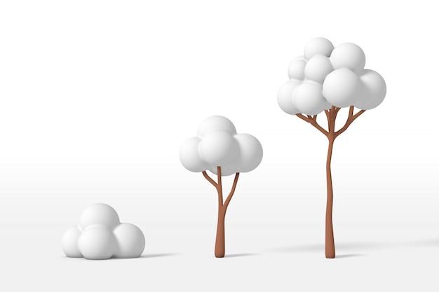 3d-wiedergabe eines baumbausatzes - klein, mittel, groß bedeckt mit weißem schnee lokalisiert auf einem weißen hintergrund. minimalistischer spielzeugstil der karikatur.