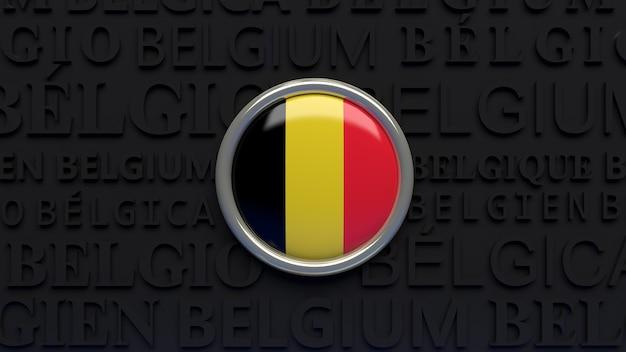 3d-wiedergabe eines hochglanzknopfes der belgischen nationalflagge über schwarz