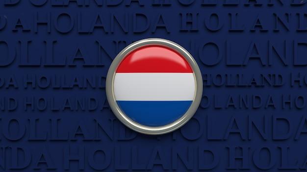 3d-wiedergabe eines hochglanzknopfes der holländischen nationalflagge über dunkelblau