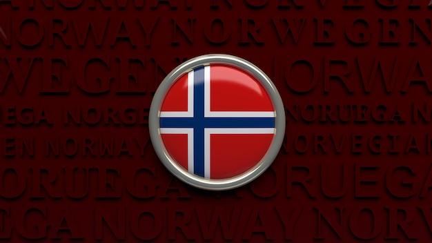 3d-wiedergabe eines hochglanzknopfes der norwegischen nationalflagge über dunkelrot