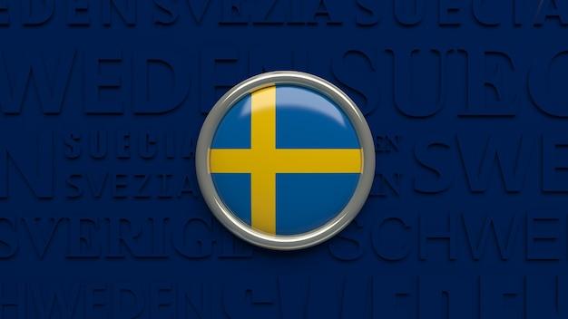3d-wiedergabe eines hochglanzknopfes der schwedischen nationalflagge über dunkelblau