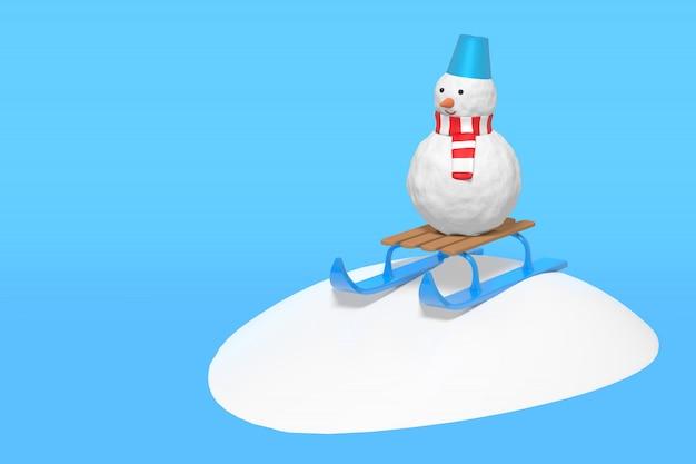 3d-wiedergabe eines lustigen schneemanns auf einem kinderschlitten rutscht von einer schneerutsche ab. illustration auf einem blauen hintergrund