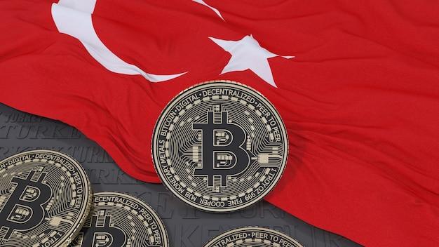 3d-wiedergabe eines metallischen bitcoin auf einer türkischen flagge