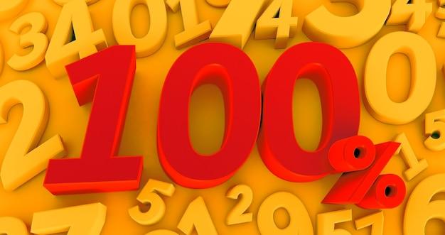 3d-wiedergabe eines symbols von einhundert prozent auf gelbem zahlenhintergrund.
