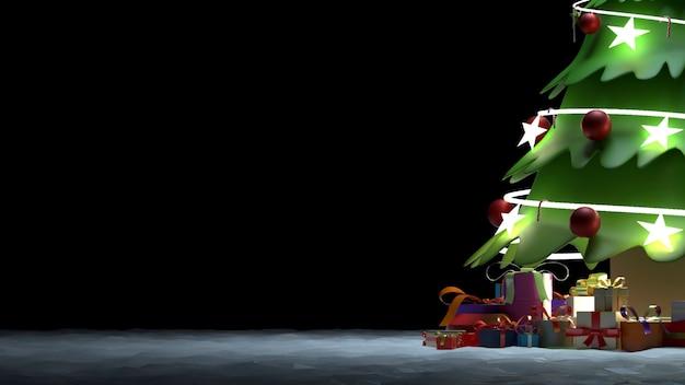 3d-wiedergabe eines weihnachtsfestes mit dekorationen