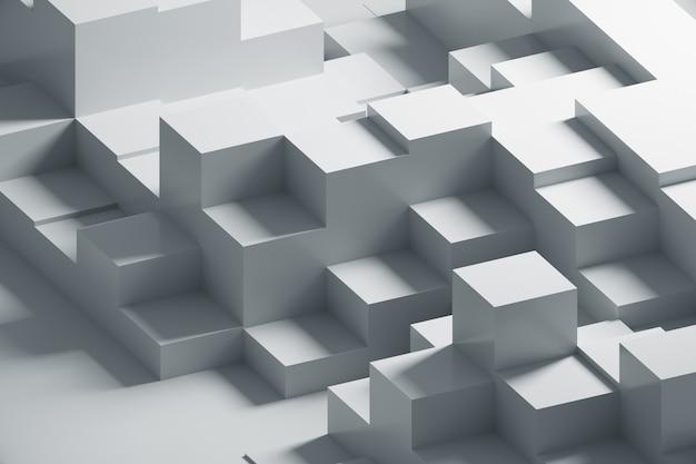 3d-wiedergabe eines weißen abstrakten geometrischen musters
