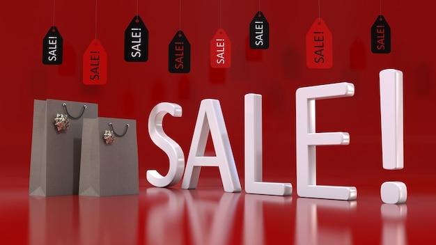 3d-wiedergabe eines weißen verkaufszeichens, der einkaufstaschen und einiger verkaufsanhänger, die auf einem roten hintergrund hängen