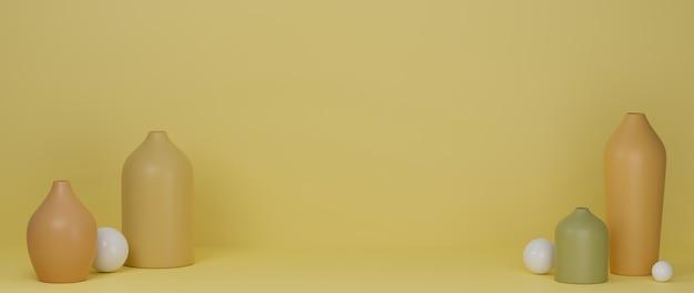 3d-wiedergabe gelbe minimale keramikvasen und topf auf gelbem hintergrund mit kopierraum 3d-illustration hauptdekoration