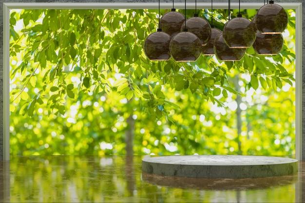 3d-wiedergabe, leerer marmortisch für die anzeige von produkten im grünen gartenpark, tisch im café im grünen garten, grüner abstrakter unschärfehintergrund, leerer kopienraum für partei