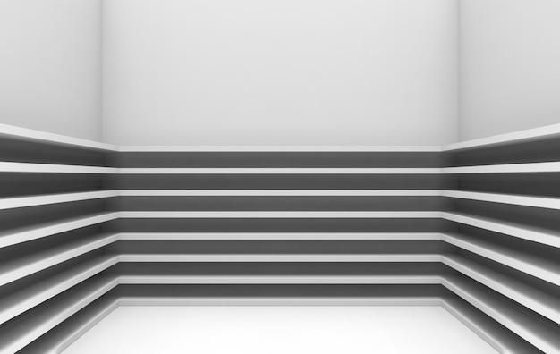 3d wiedergabe, modernes muster der parallelen grauen platten auf eckwandhintergrund,