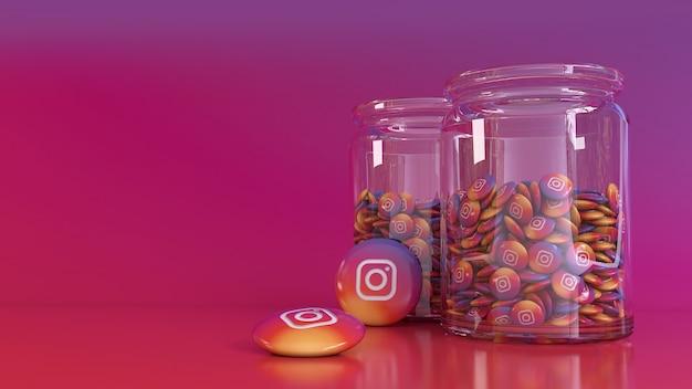 3d-wiedergabe von 2 gläsern gefüllt mit vielen instagram glänzenden pillen auf buntem hintergrund