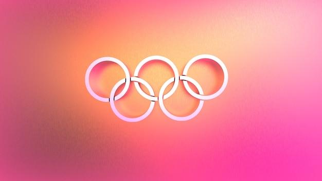3d-wiedergabe von abstrakten verknüpften kreisen auf einem rosa hintergrund
