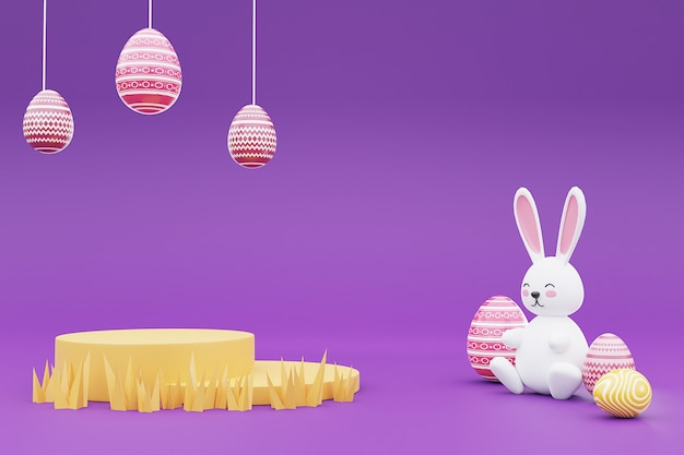 3d-wiedergabe von bunten ostereiern mit hase auf lila hintergrund. glückliches osterkonzept.