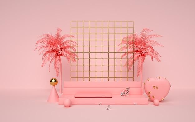 3d-wiedergabe von geometrischem rosa mit kokosnussbaumdekorationen