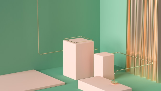 3d-wiedergabe von geometrischen formen der abstrakten szene