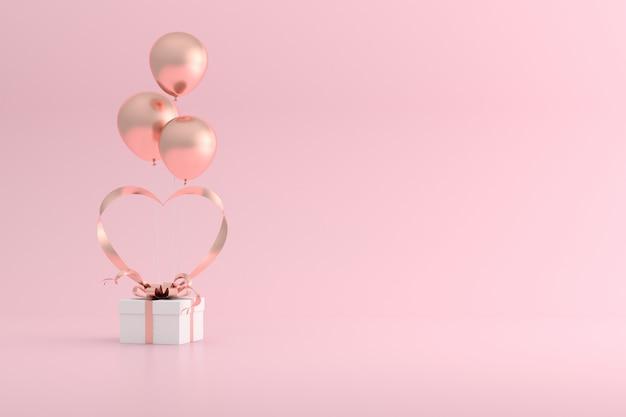 3d-wiedergabe von geschenkbox und luftballons mit herzform des bandes.