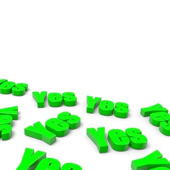 3d-wiedergabe von ja-wörtern