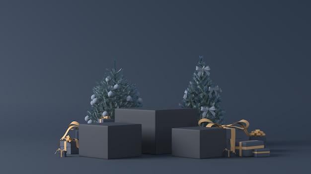 3d-wiedergabe von podien mit weihnachtsgeschenken