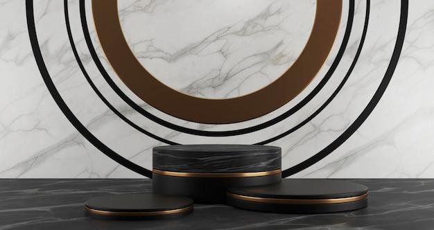 3d-wiedergabe von schwarzen marmor- und goldenen sockelschritten lokalisiert auf weißem hintergrund, goldenem ring, abstraktem minimalkonzept, leerraum, luxusminimalist