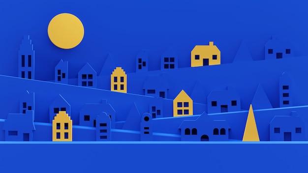 3d-wiedergabe von wohngebäuden mit papierschnittartillustration