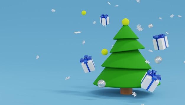 3d-wiedergabe-weihnachtsbaum mit schneeflocken und geschenkboxen auf blau
