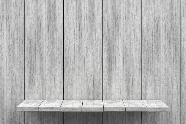 3d wiedergabe, weißer regalholztischhintergrund für produktanzeige, weißer hölzerner beschaffenheitshintergrund