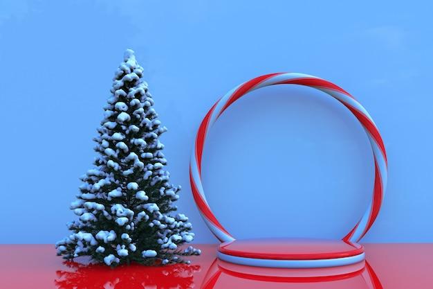 3d-winterszene mit podestbogen und schneebedecktem weihnachtsbaumsockel für zeitschriftenplakate