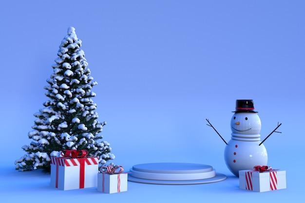 3d-winterszene mit rundem podest-süßigkeitsbogen schneebedeckter weihnachtsbaum-geschenkbox