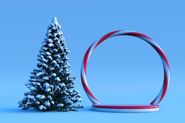 3d-winterszene mit rundem podest-süßigkeitsbogen und schneebedecktem weihnachtsbaum celebration new year
