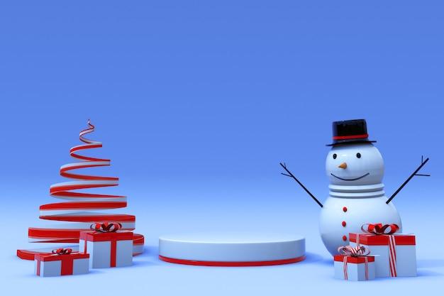 3d-winterszene mit rundem podest weihnachtsbaum-geschenkbox und schneemannweihnachten und neujahr