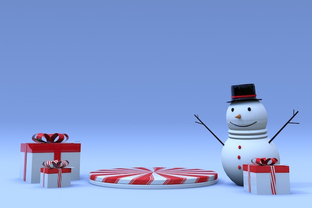 3d-winterszene mit runder podest-geschenkbox und lustigem schneemann-sockel für weihnachten und neujahr