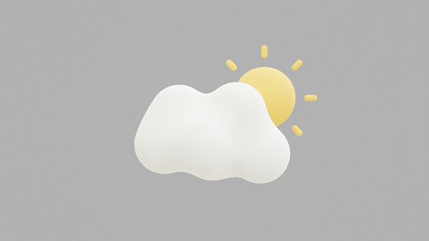3d-wolke und sonnenuntergang isoliert auf einer grauen oberfläche. rendern sie weiche runde cartoon flauschige wolkensymbol 3d geometrische formen