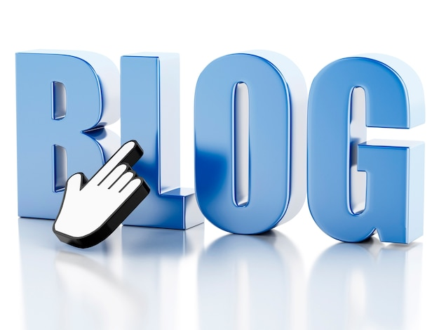 3d-word-blog mit mauszeiger