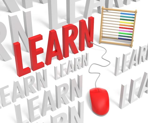 3d wort lernen mit computermaus und abakus