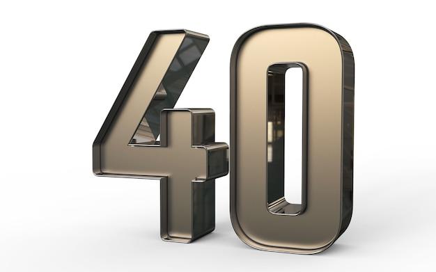 3d-zahl 40 prozent golden